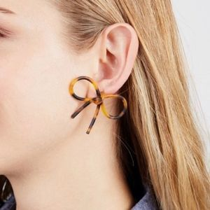 Bow Statement Earrings in Tortoise Shell Color